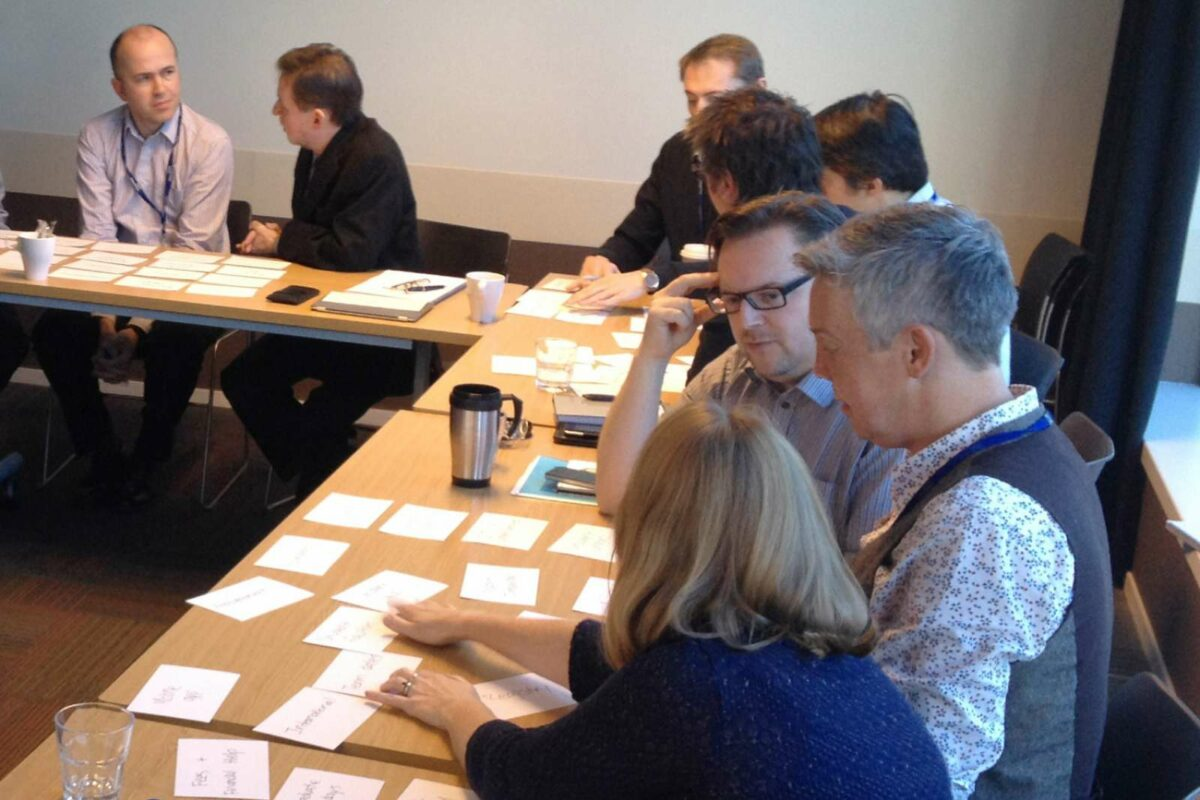 Imperial College London staff and faculty participating in a card sorting workshop