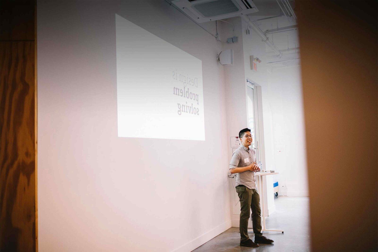 Stan presenting design thinking day