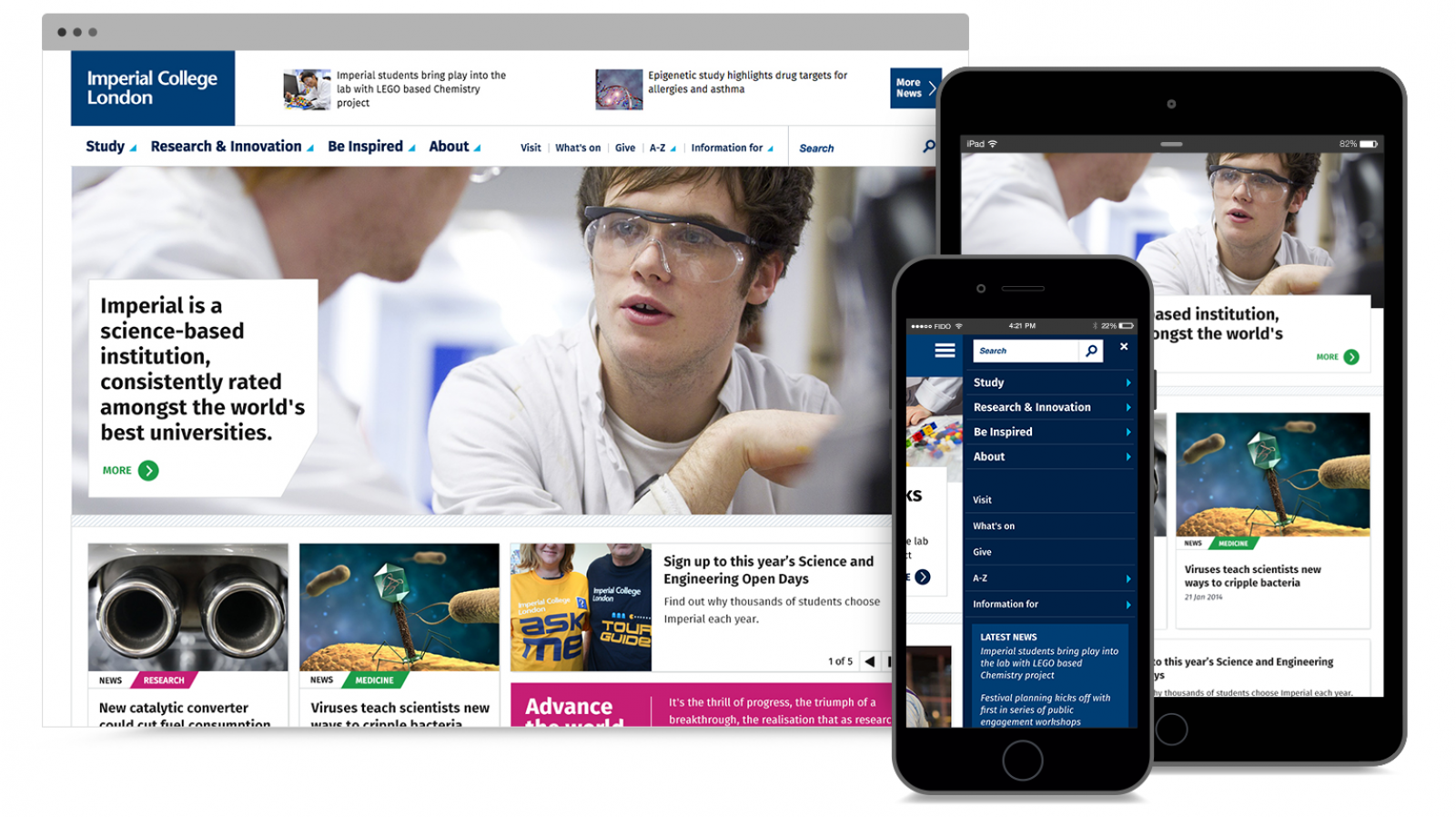 Screenshots of new Imperial College website in various devices