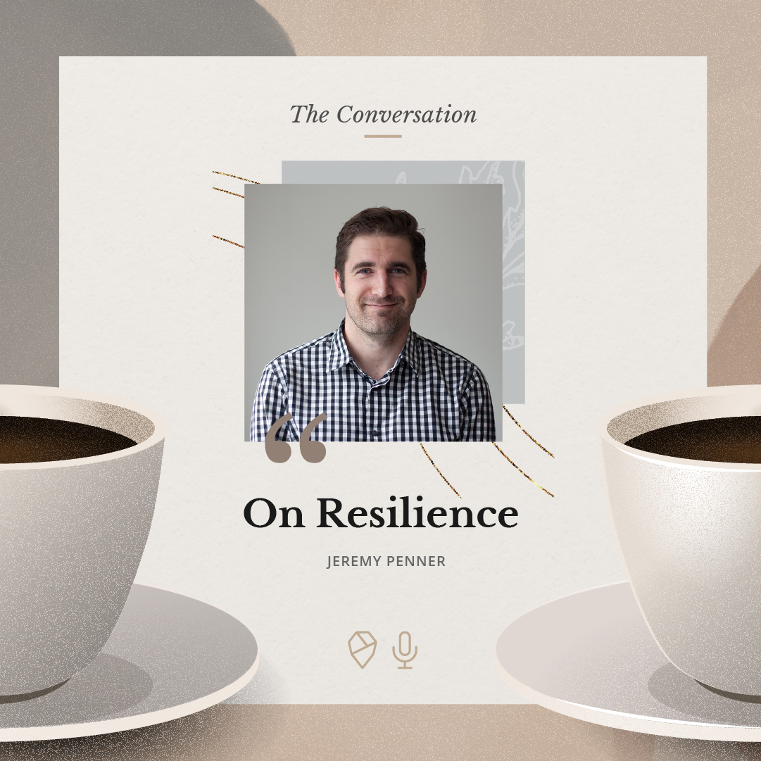 An illustration of the podcast cover with a photo of Jeremy
