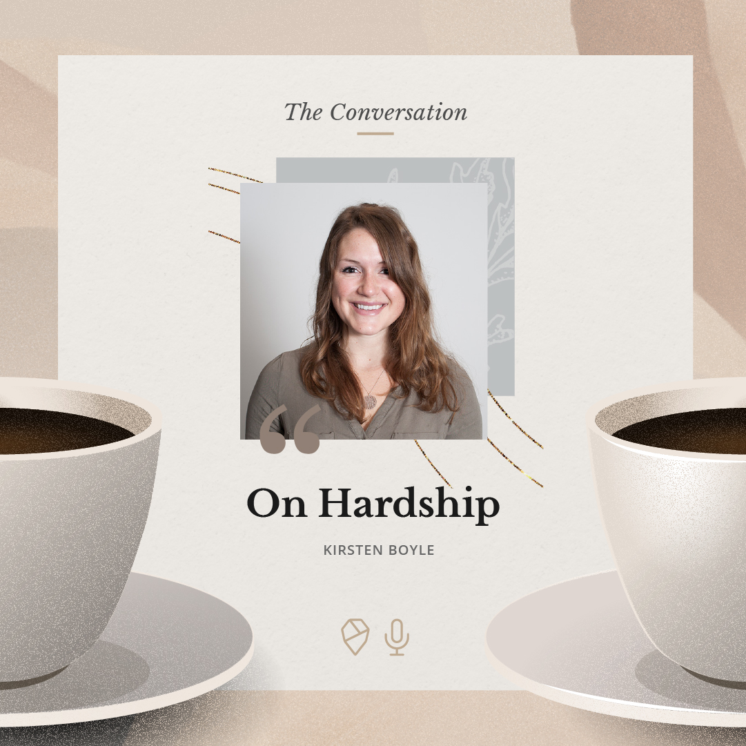 The podcast cover illustration with a photo of Kirsten