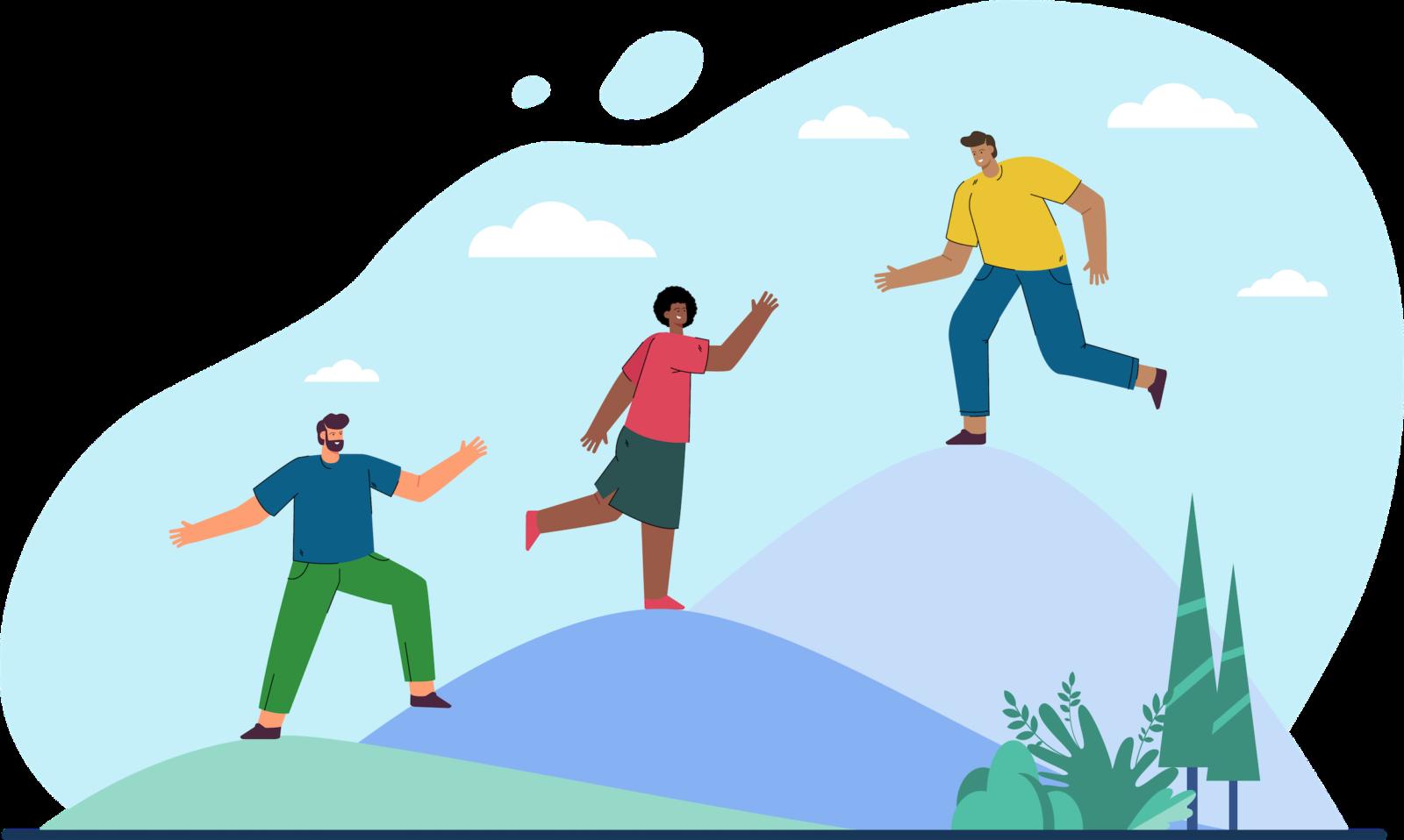 Illustration of three people climbing mountains
