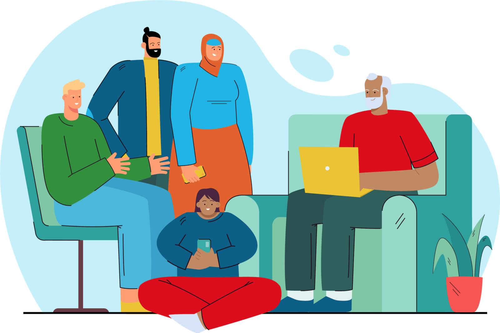 An illustration of a diverse group with devices